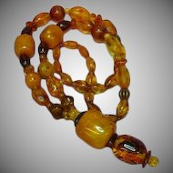 Amber and Copal Synthetic Traditional African Beads Necklace Large Chunky Light Weight Necklace