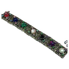 Dafri Toronto Signed RARE Rhinestone Heavy Link Glass Cabochon Bracelet