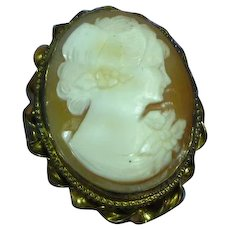 Vintage 1920s Carved Shell Cameo  12K Gold-Filled Pendant Pin