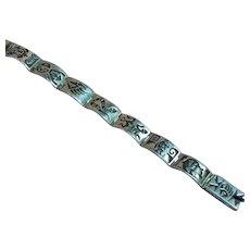 Native American Silversmith Gene Pooyouma Vintage Heavy Hopi Sterling Silver Overlay Segmented Panel Bracelet