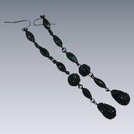 Black Rhinestone Japanned Shoulder Duster Dangle Pierced Earrings