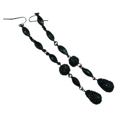 Black Rhinestone Japanned Shoulder Duster Dangle Pierced Earrings