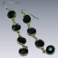 Black Rhinestone Gold Tone Dangle Pierced Earrings