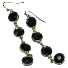 Black Rhinestone Gold Tone Dangle Pierced Earrings
