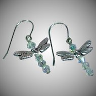 Swarovski Crystal Dragon Fly Figural Silver Dangle Drop Pierced Earrings