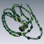 Amazing Vendome Signed Triple Strand Emerald Green Crystals Vintage Necklace Earrings Set