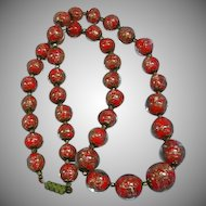 Fabulous Venetian Murano Glass Aventurine RED Gold Flecked Vintage Estate Necklace