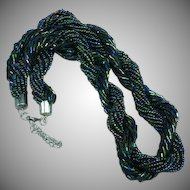 Peacock Blue Green Colored  Czech Glass Seed Bead Multi-Strand Torsade Necklace