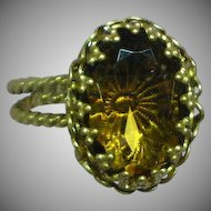 West Germany Antiqued Gold Tone Topaz Glass Ring