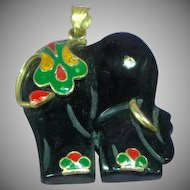 Fabulous Carved Dark Green Jade Cloisonne 14K Yellow Gold Elephant Pendant