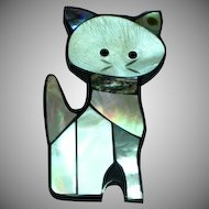 Inlay Iridescent Mother of Pearl Abalone in Black Plastic Cat Figural Pin Brooch