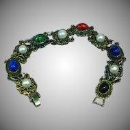 Vintage Gold-Tone Metal Art Glass & Faux Pearl Link Bracelet