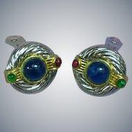 Gripoix Poured Glass Cabochon Large Clip Earrings