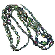 Gorgeous Long 2 Strand Faceted Mirrored Vitrail Crystal Bead Necklace