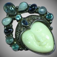 Stunning Retired Sajen Sterling Silver Gemstone Labradorite Amethyst Moonstone Goddess Face Necklace Pendant Pin Brooch