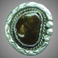 Native American Indian Hand Crafted  Fire Agate Sterling Silver Large Ring