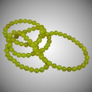 Vintage Chinese Hand Carved Yellow Jade Bead Necklace