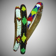 Native American Indian Beaded on Leather Set of Three Bangle Bracelets