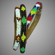 Native American Indian Beaded on Leather Set of Three Bangle Bracelets