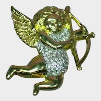 Cupid Angel Cherub Rhinestones Pin Brooch