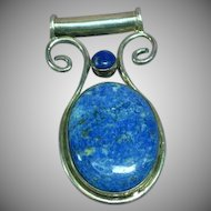 Eilat Chrysocolla Lapis Lazuli  Sterling Silver Large Necklace Pendant
