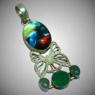 Vintage Sterling Silver Foil Art Glass Gemstone Necklace Pendant