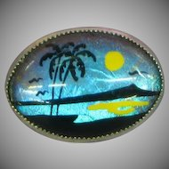 Fabulous Butterfly Wing Ocean Tropical Palm Trees Vintage Pin Brooch