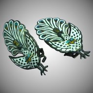 Siam Sterling Silver White Enamel Hinged Peacock Bird Figural Clip Earrings