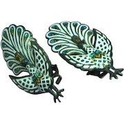 Siam Sterling Silver White Enamel Hinged Peacock Bird Figural Clip Earrings