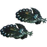 Siam Sterling Silver Black Enamel Hinged Peacock Bird Figural Clip Earrings