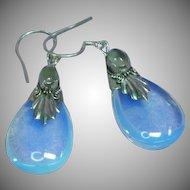 Opalescent Opalite Opaline Glass Dangle Moonstone Sterling Silver Pierced Earrings