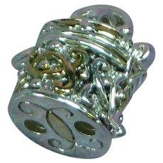 Vintage Silver Plate Gold Guild Small Round Treasure Box Prayer Box Charm Necklace Pendant