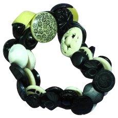 Black White Cream Plastic Lucite Vintage Buttons Stretchy Elastic Bracelet