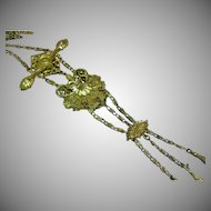 Art Signed Golden Spectacular Festoon Style Necklace with Dangling Chains