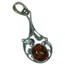 Sterling Silver Genuine Baltic Amber Necklace Pendant