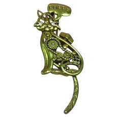 AJC  Signed Steam Punk Cat Suspended Moving Tail Dangle Pin Brooch