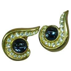 Krementz Signed Gold Tone Blue Cabochon Clear Rhinestones Pierced Earrings