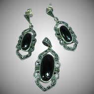 Gorgeous  Vintage Sterling Silver Onyx  Marcasites Dangle Necklace Pendant Pierced Earrings Set Demi Parure