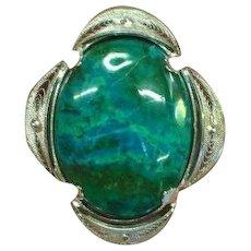 Eilat Stone Sterling Silver  Oval Israel Jewelry Pin Brooch