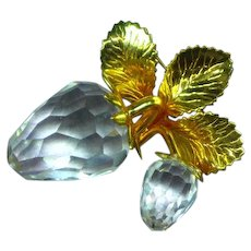 Swarovski Marked Crystal Sensational Hanging Strawberries Brooch Pin