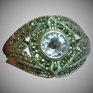 Vintage Sparkling Sterling Silver Amethyst & Marcasite Ring