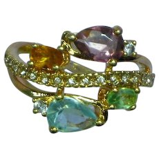 Multi Gemstones  Sterling Silver Vermeil Ring