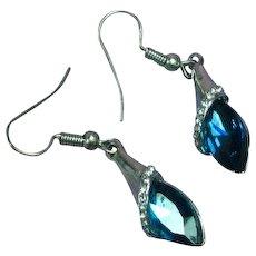 Teal Blue Green Rhinestone Dangle Pierced Earrings