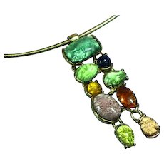 Art Glass Foil Cabochon Pendant on Omega Necklace