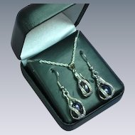 Vintage Silver Plate Metal With Simulated Potato Pearls  Necklace Earrings Set MIB