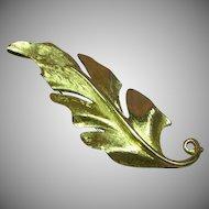 Monet Signed Gold Tone Leaf Shape Brooch Pin