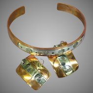 Hand Crafted Copper and Sterling Silver Bracelet Earrings Set