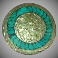 Mexico Mexican Sterling Silver Turquoise Inlay Etched Pin Brooch Pendant