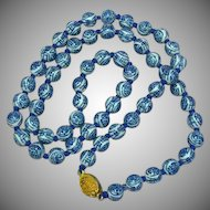 Chinese Porcelain Individually Hand Knotted Beads Vintage Oriental Necklace