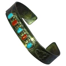 Native American Indian W. Long Signed Turquoise Coral  Sterling Stamped Design Cuff Bracelet